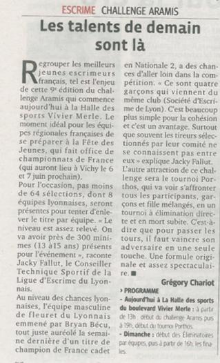 Le challenge Aramis dans la presse
