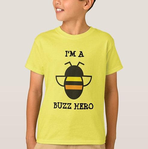 """""""I'm a Buzz Hero"""" Kids T-Shirt in Yellow"""