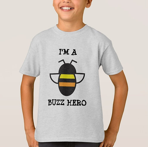 """""""I'm a Buzz Hero"""" Kids T-Shirt in Grey"""