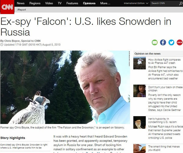 Cold War spy Christopher Boyce pens opinion article for CNN about whistleblower Edward Snowden.