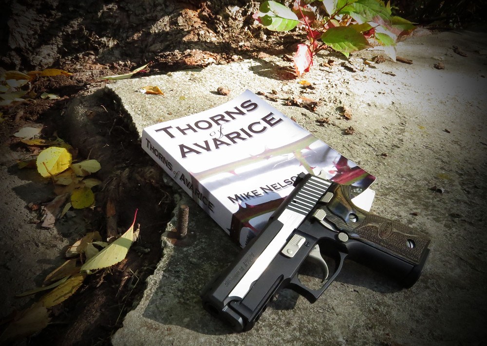 Mike Nelson's book Thorns of Avarice is available in paperback and Kindle e-book.