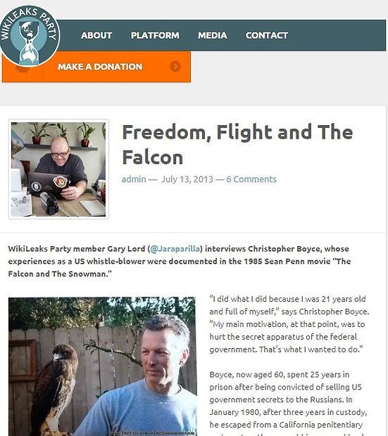 "Wikileaks interviews Cold War spy Christopher Boyce (AKA ""the Falcon"")."