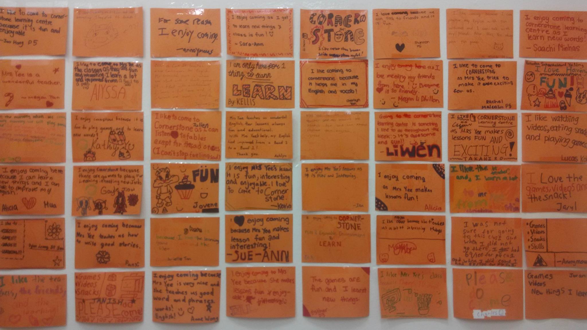 Wall of testimonials