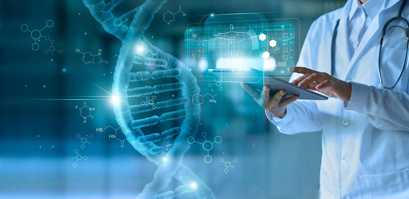 Medicine doctor touching electronic medi