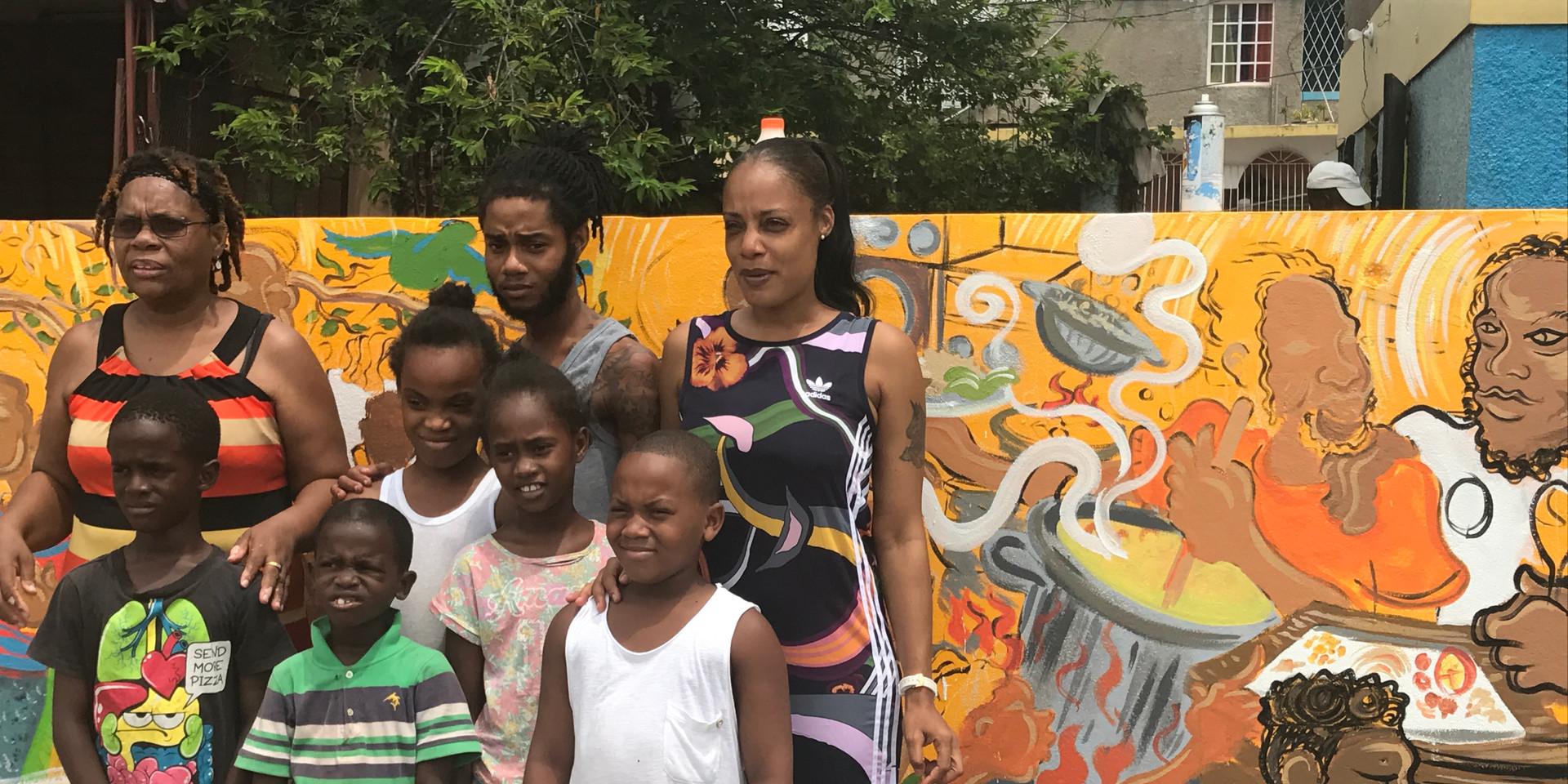 The Johnson family and Orange Villa children