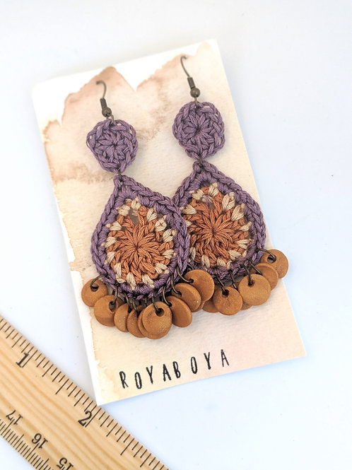 boho dangle earrings - purple