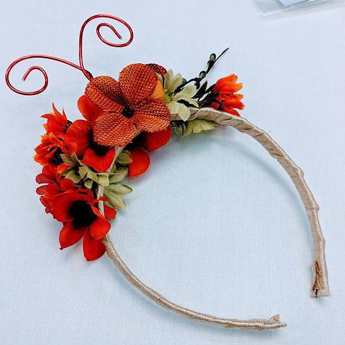 red and orange butterfly floral headband