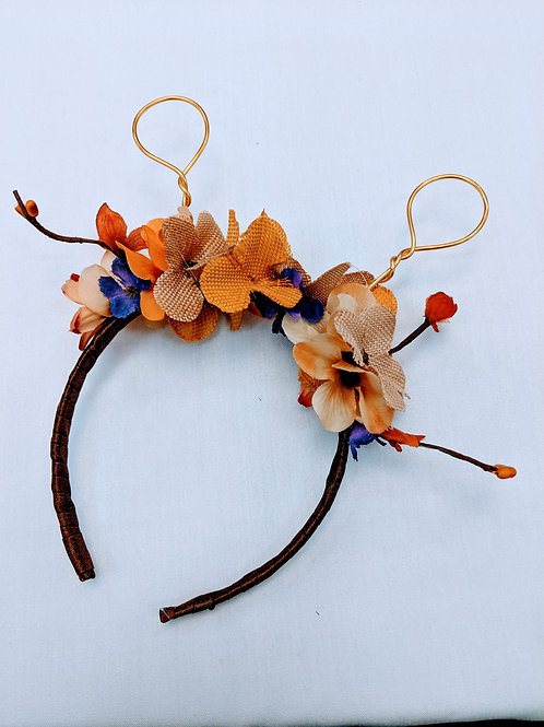 orange and gold giraffe floral headband