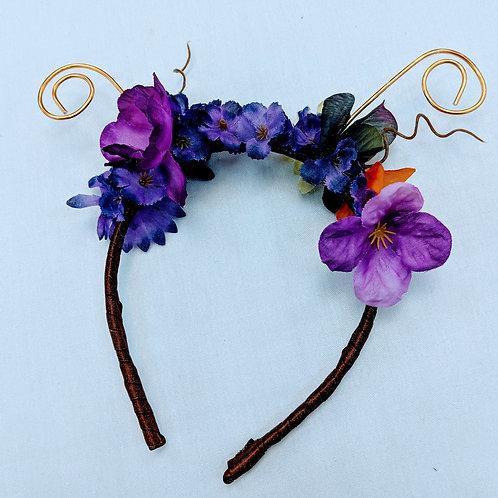 purple butterfly or snail floral headband