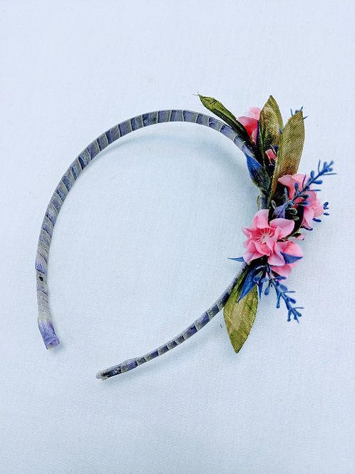 purple gray and pink sweet floral headband