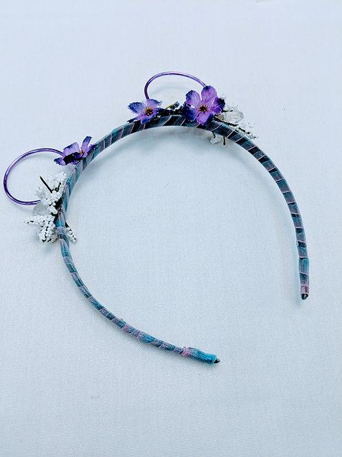 dainty purple floral mouse bear headband
