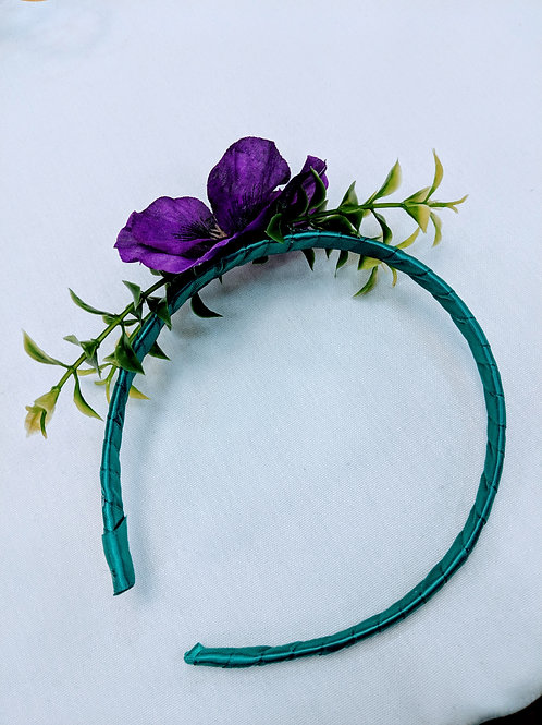 purple and green floral headband