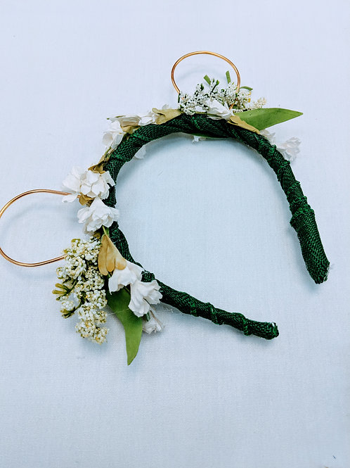 green and white springtime bear ears floral headband