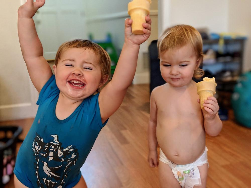 Little homeschooling babies of wonder eating icecream
