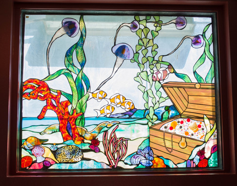 stained glass art in restaurant