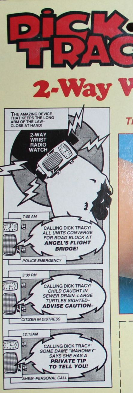 Back of package of Playmates 1990 Dick Tracy 2-Way Wristwatch