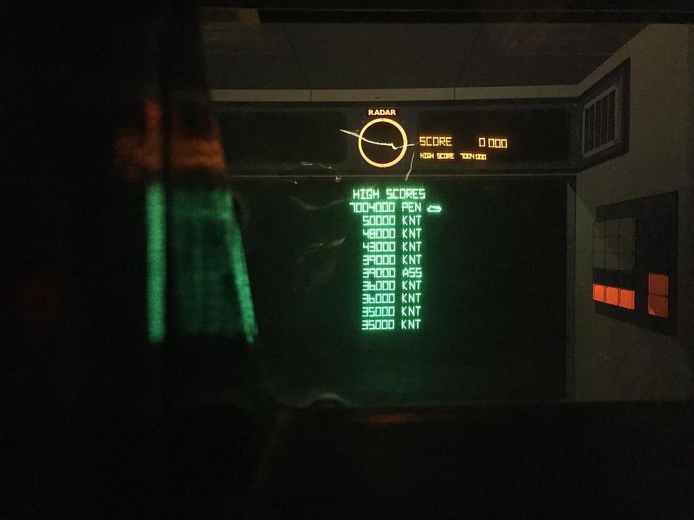 Atari Battlezone vector arcade game high score glitch