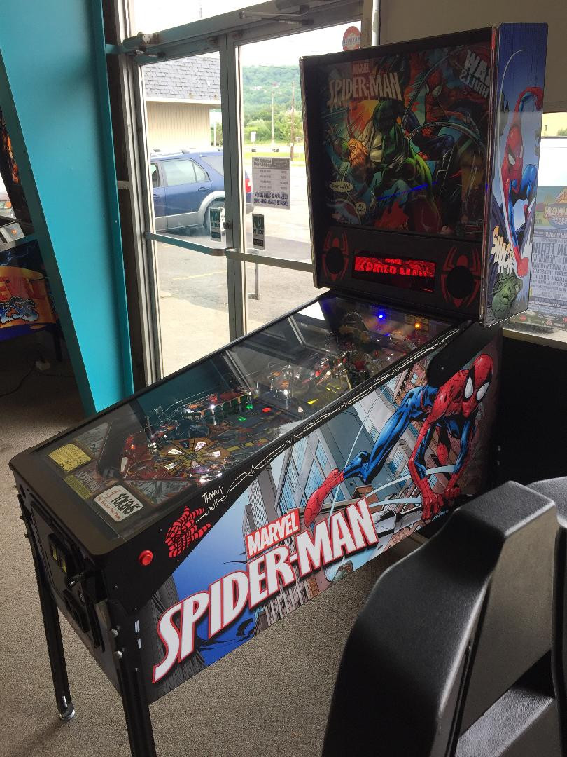 Marvel Spider-Man pinball machine by Stern.