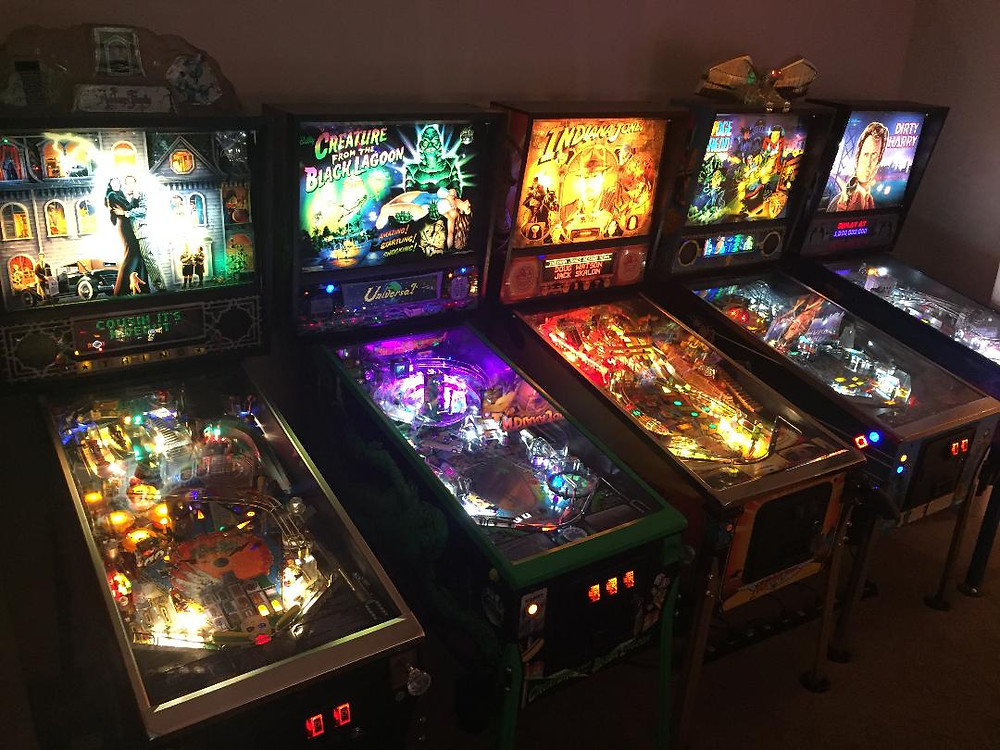 Pinball machines: The Addams Family, Creature from the Black Lagoon, Indiana Jones, Judge Dredd, Dirty Harry