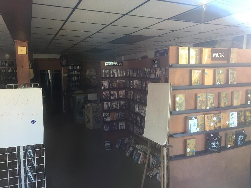 Interior of a video rental store.