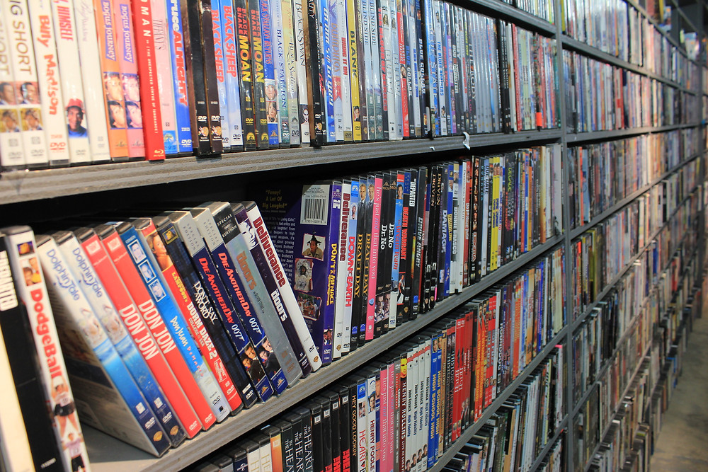 Shelves of DVDs at Sound Go Round in Vestal, NY