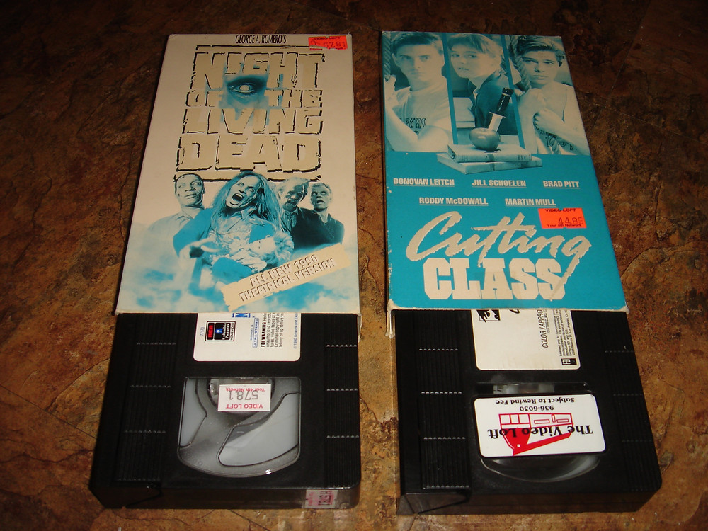 Night of the Living Dead and Cutting Class VHS ex-rental tapes.