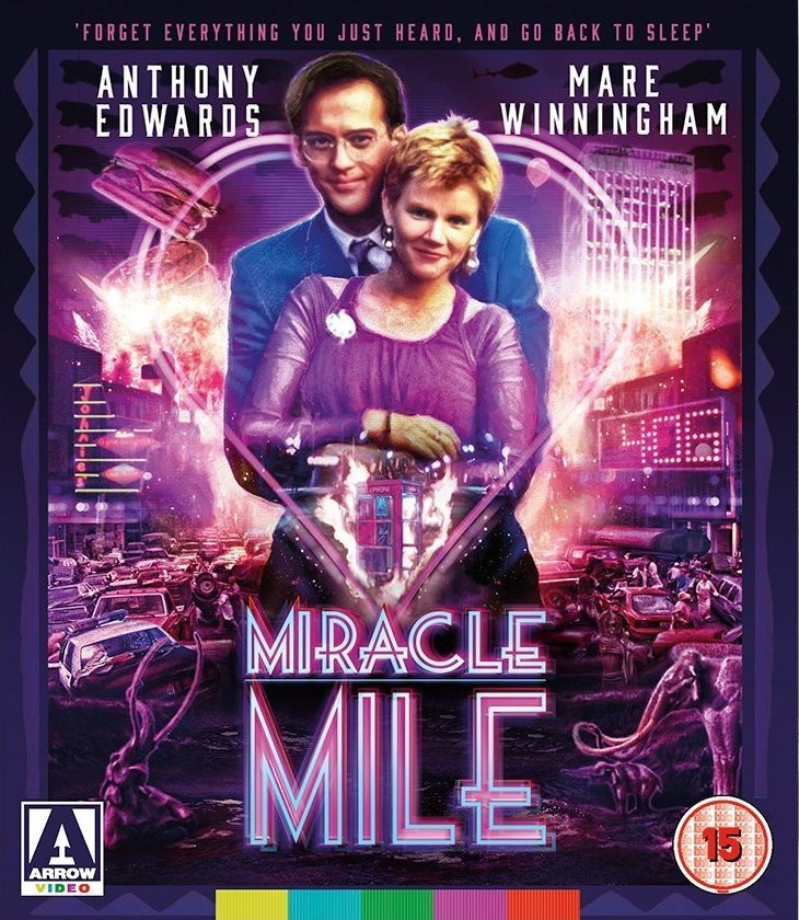 "Cover art for Steve De Jarnatt's ""Miracle Mile"" 2015 UK Blu-ray."