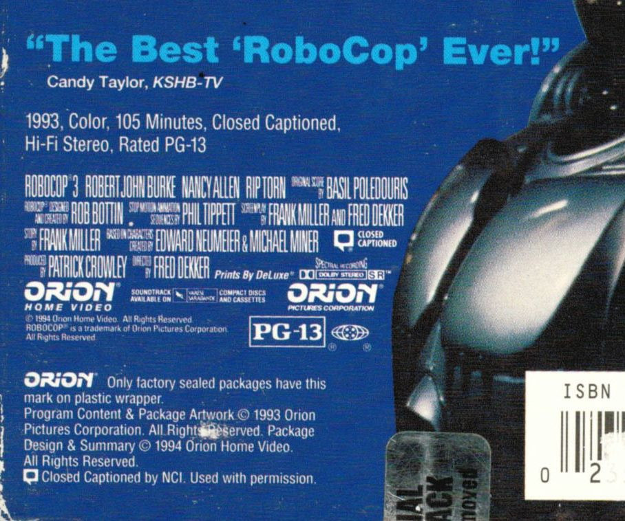 Quote on back of Robocop 3 VHS box.