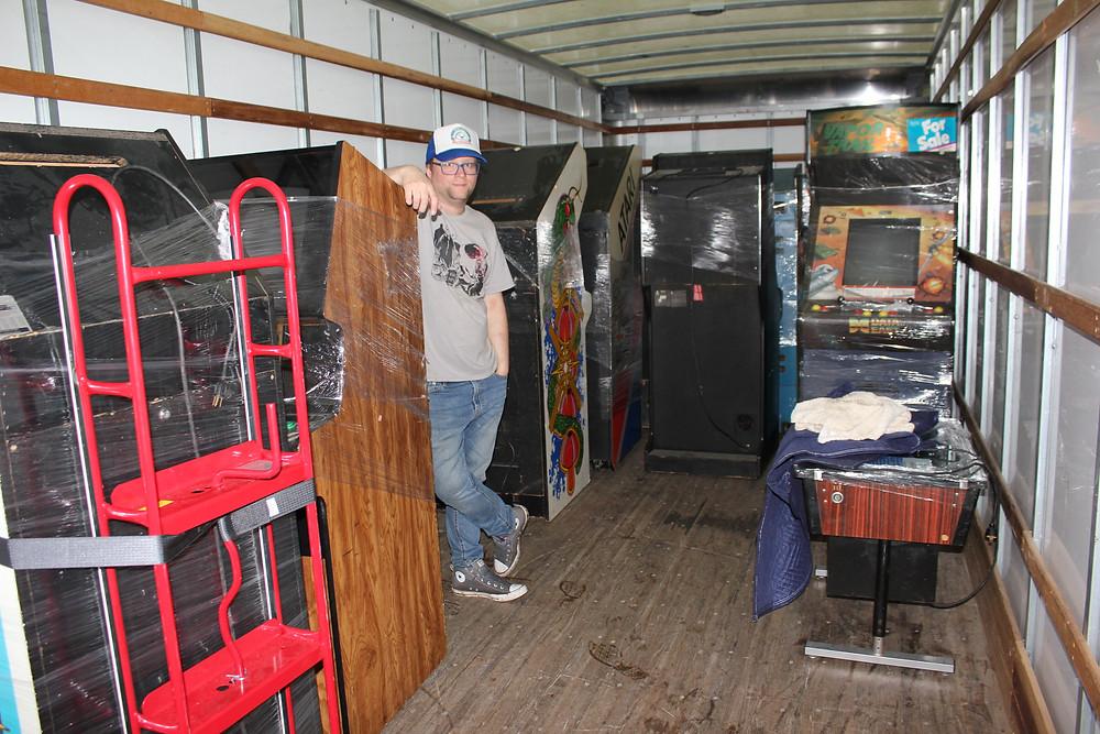 Vintage arcade games loaded in Penske moving truck