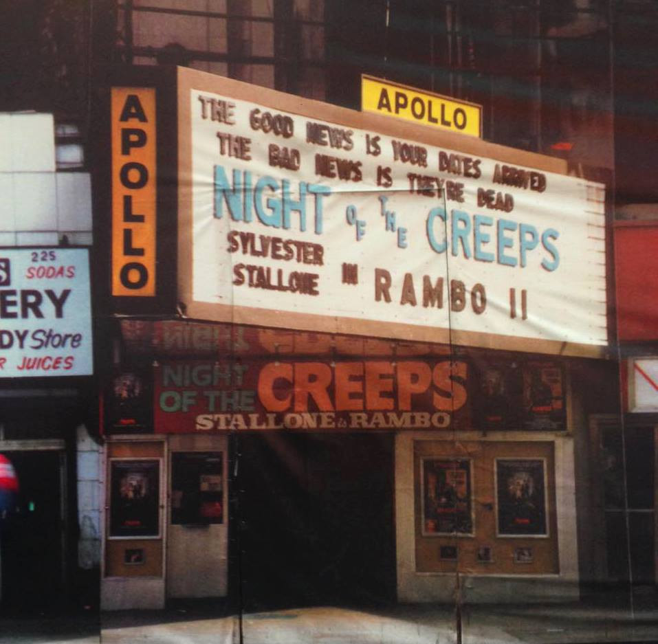 Night of the Creeps and Rambo II playing at The Apollo Theater.
