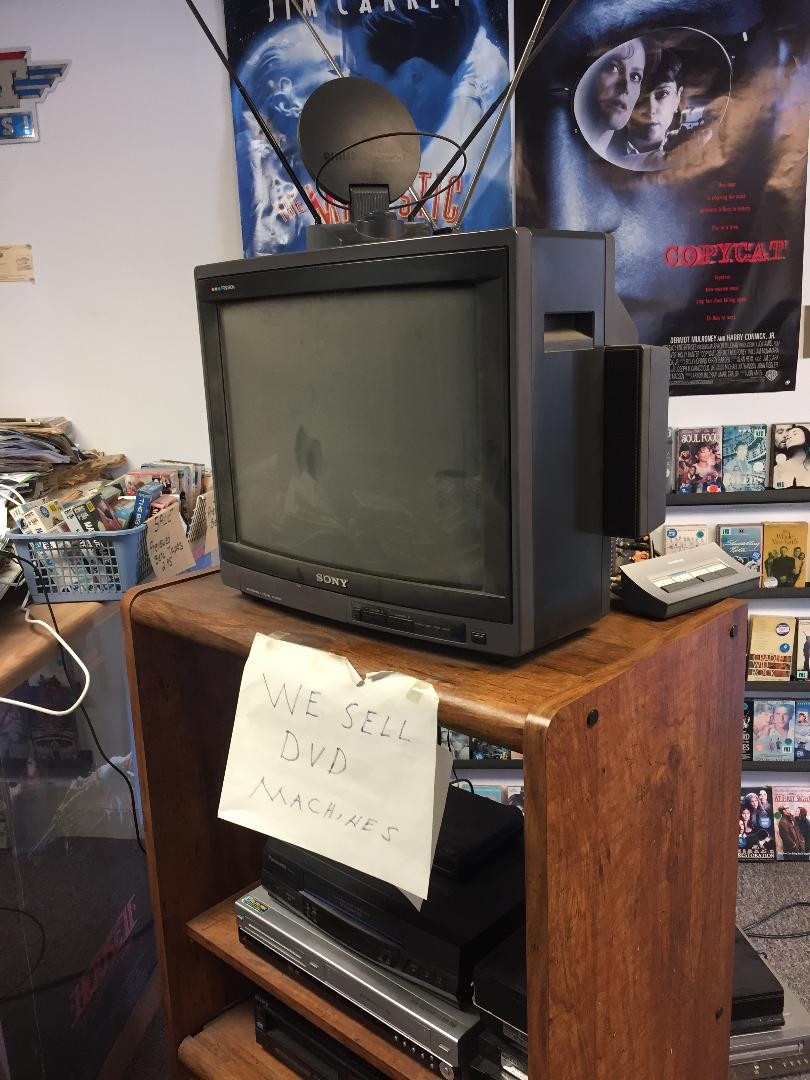 Sony Trinitron CRT televison in a video rental store.