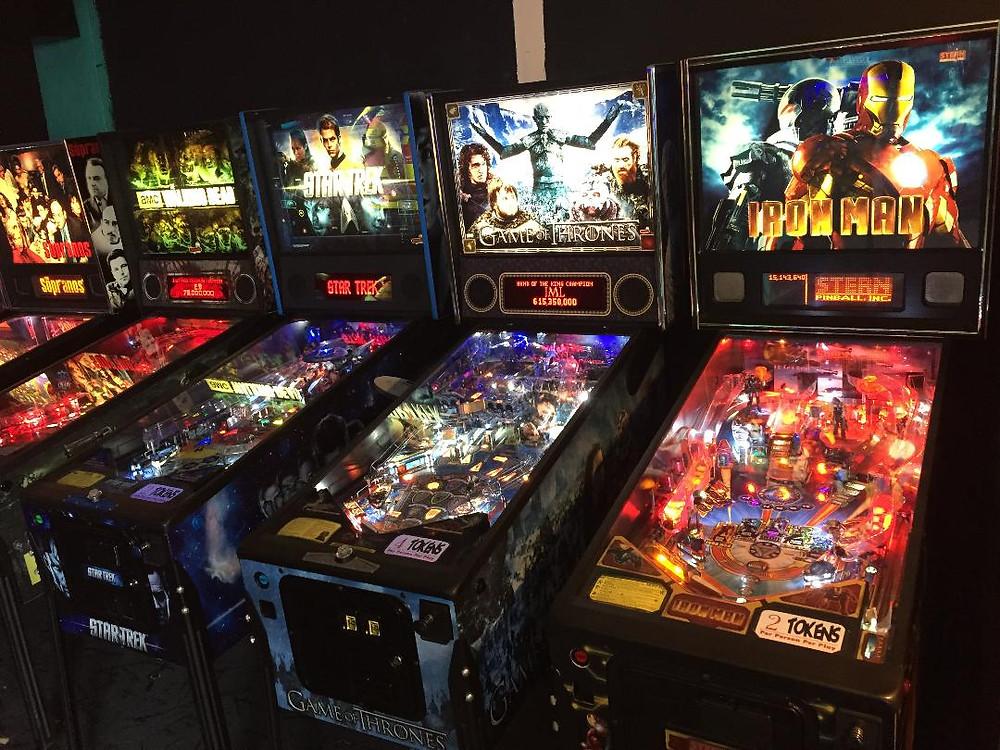 Stern pinball machines: Iron Man, Game of Thrones, Star Trek, The Walking Dead, The Sopranos.