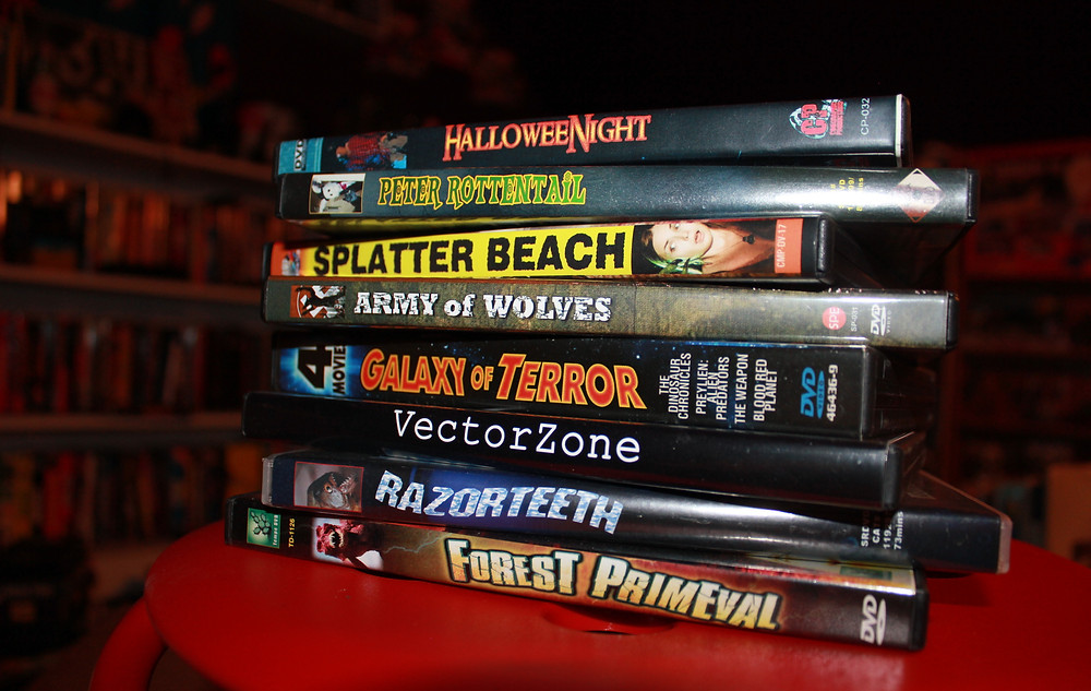 Polonia Bros. DVDs: HalloweeNight, Peter Rottentail, Splatter Beach, Army of Wolves, The Dinosaur Chronicles, VectorZone, Razorteeth, Forest Primeval.