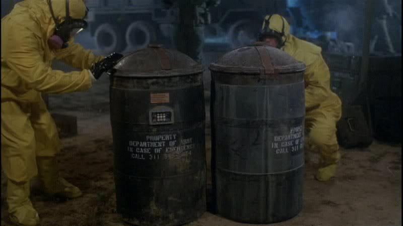 Return of the Living Dead Part II Trioxin 245 barrels.