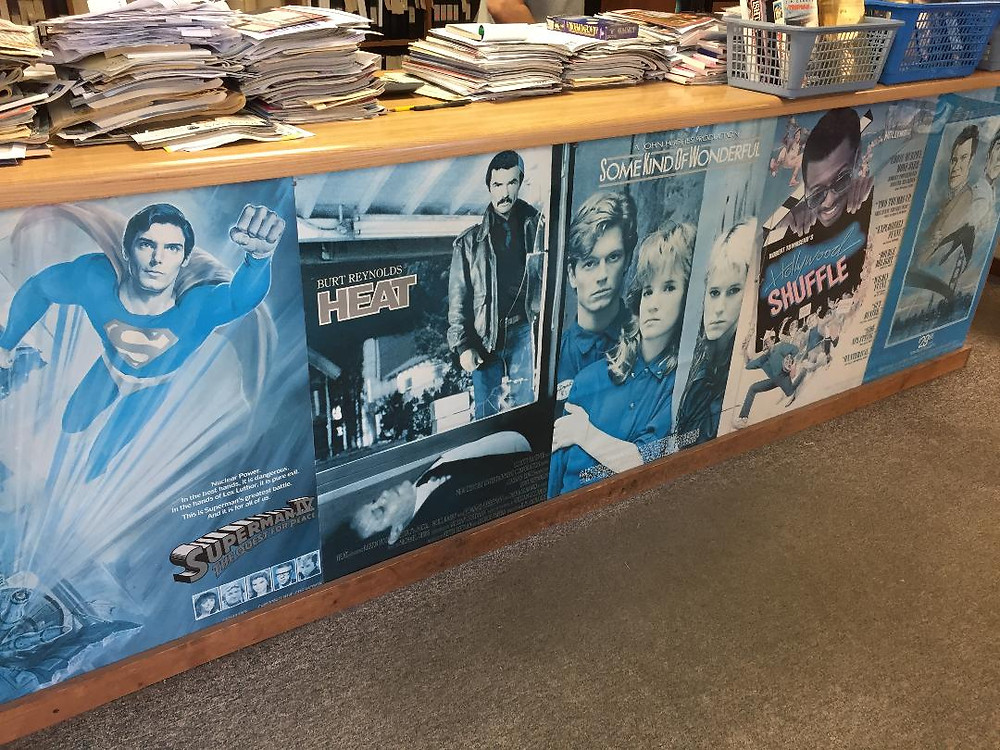 Video store movie posters for  Superman IV, Heat, Some Kind of Wonderful, Hollywood Shuffle and Star Trek IV: The Voyage Home
