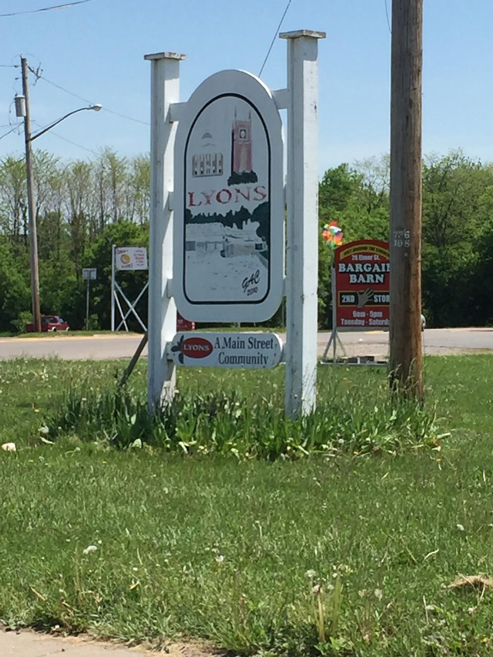 Lyons, NY sign.