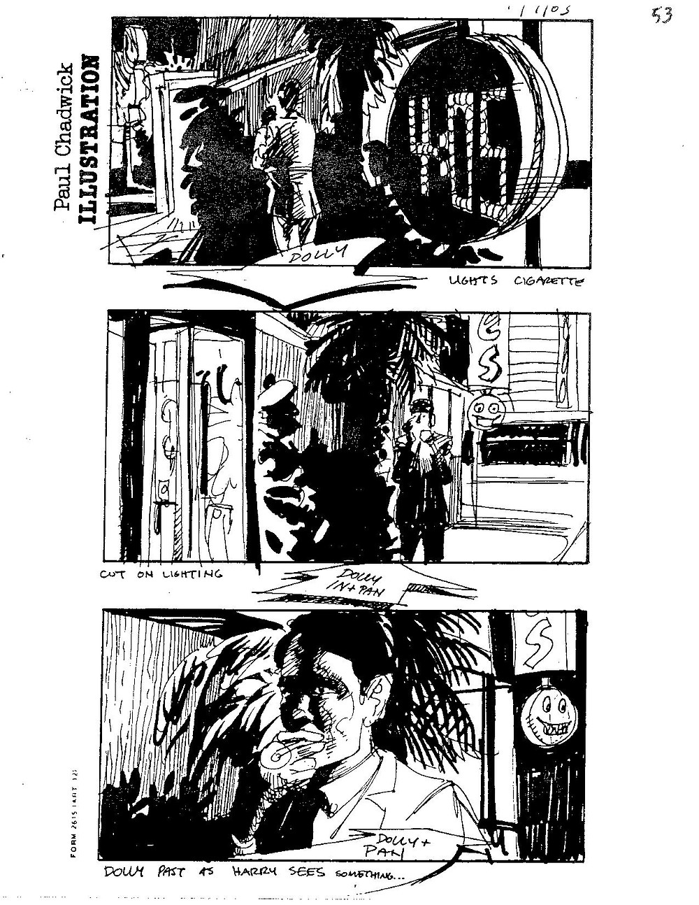 "Page 53 of original ""Miracle Mile"" storyboards."
