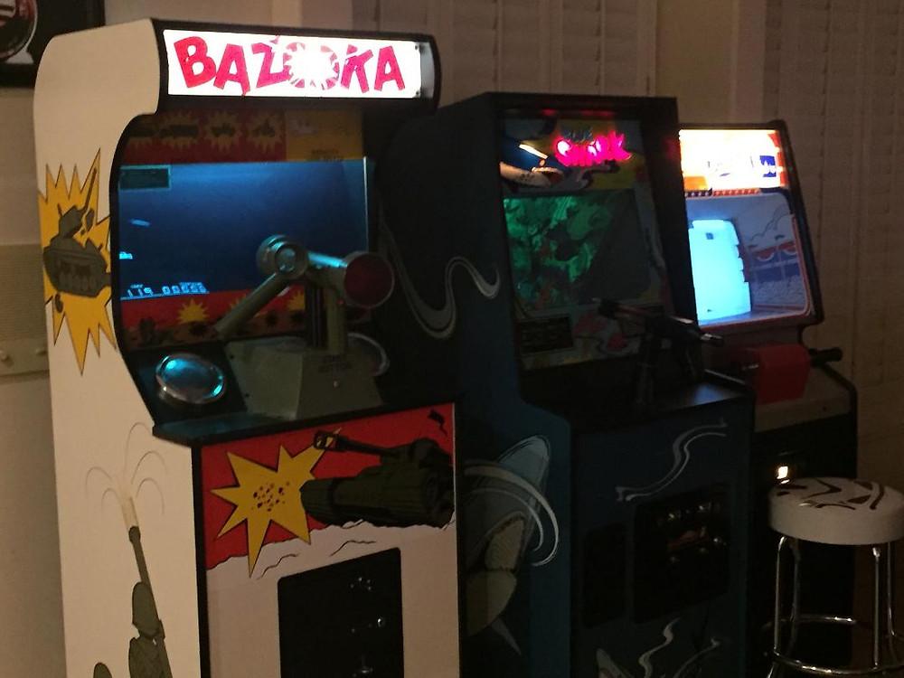 Arcade games: Bazooka, Blue Shark, Atari Stunt Cycle