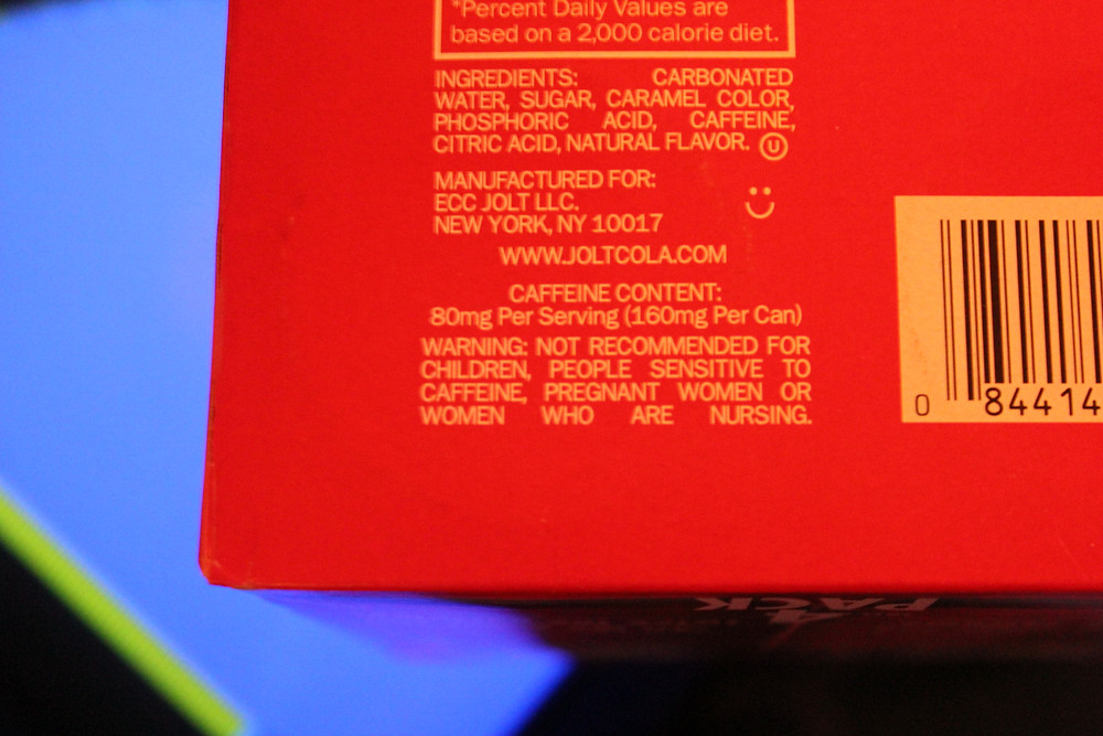 Jolt Cola caffeine warning