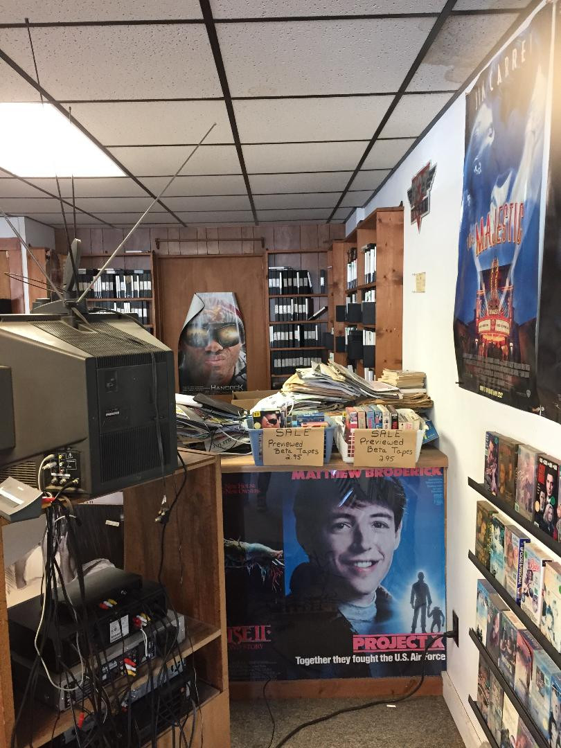 Interior of Maple Ave. Video rental store.