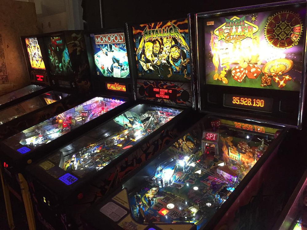Stern pinball. Monopoly, Metallica, KISS, High Roller Casino.