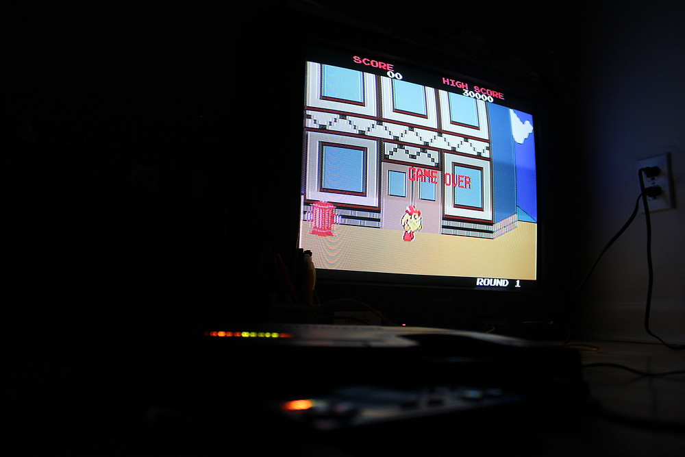 TurboGrafx-16 port of PAC-LAND playing on a CRT television