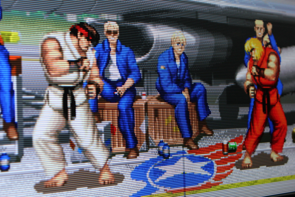 AtGames Flashback Legends scanline filter on Super Street Fighter II: The New Challengers