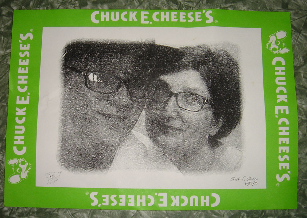 Chuck E. Cheese black and white photobooth printout.