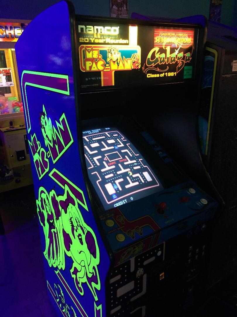 Namco 20 Year Reunion arcade machine with Ms. Pac-Man and Galaga.
