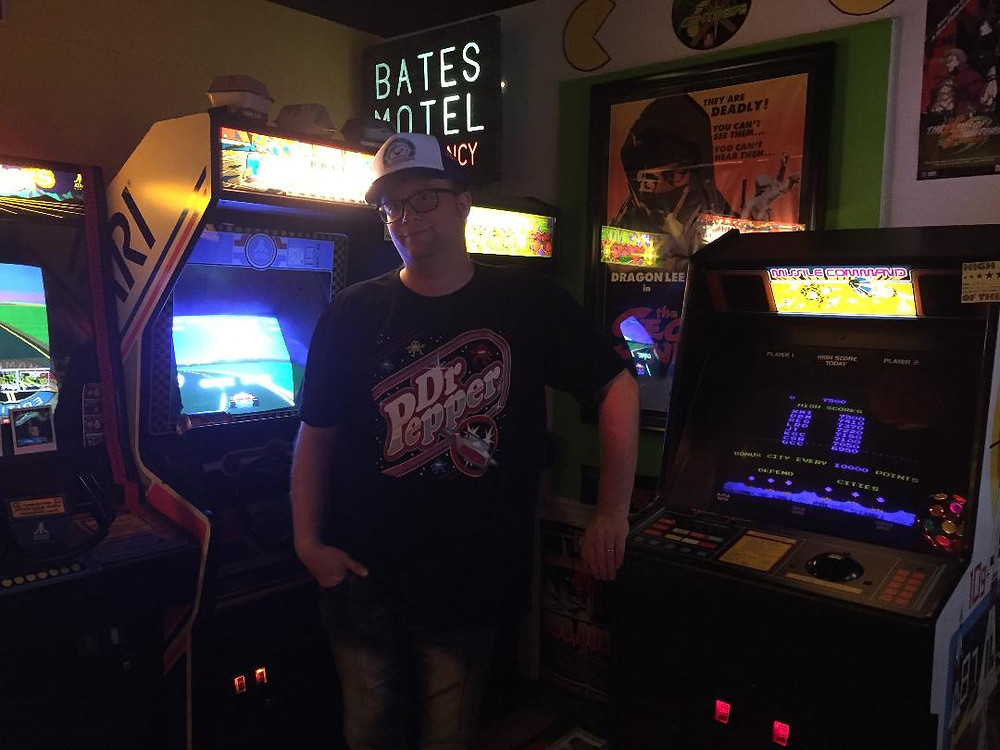 Free Dr Pepper arcade t-shirt with Atari arcade games: RoadBlasters, Pole Position, Centipede, Missile Command.