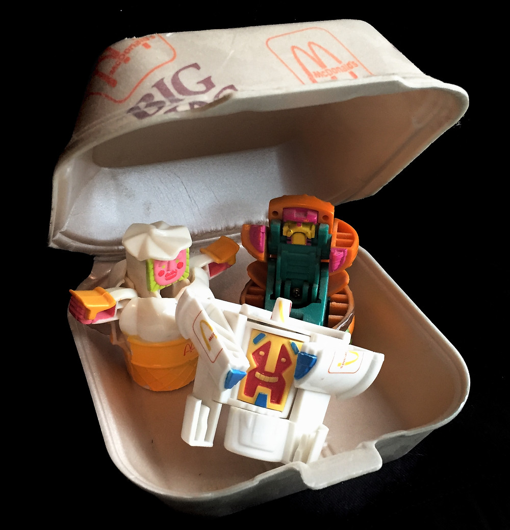 McDonald's New Food Changeables in an '80s Styrofoam Big Mac clamshell container.