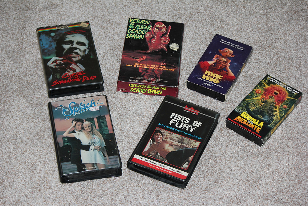 VHS tapes: Curse of the Screaming Dead, Return of the Alien's Deadly Spawn, Fists of Fury, Mac and Me, Splash, Godzilla Vs. Biollante