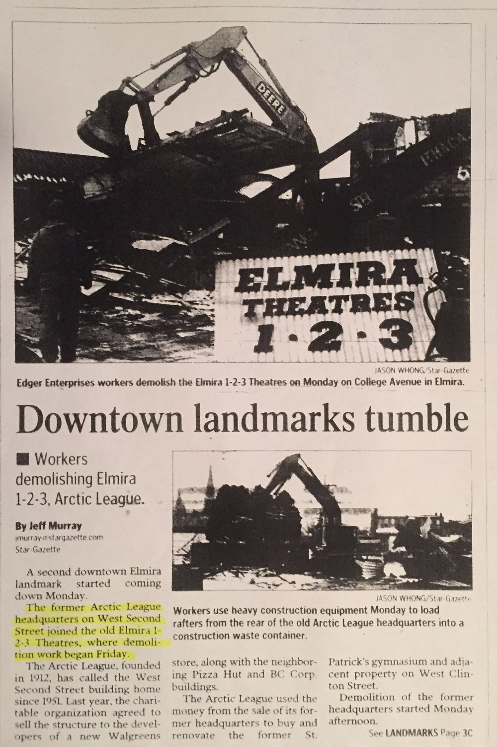 Elmira Star-Gazette Elmira 1-2-3 article March 20, 2007.
