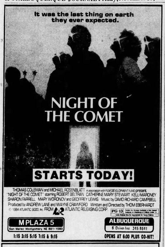 Night of the Comet movie newspaper ad